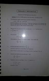 UOL Dr Phil Stephenson mathematics 2 prelim and past exam papers from 2003 to 2017