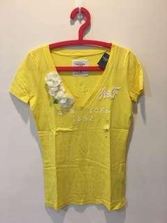 🚚 Abercrombie af 短袖上衣 黃色 t 恤