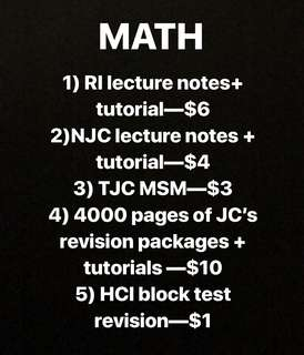 H2 Math School notes + tutorials + revision package