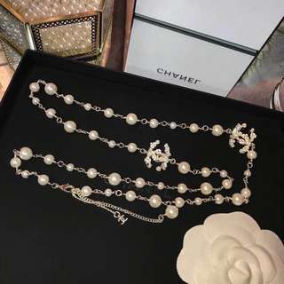 Chanel-Style Faux Pearl Crystal-Embellished Floral Themed 'CC' Necklace