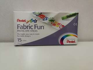 Pentel Arts Fabric Fun Pastel Dye Sticks 15 Colours