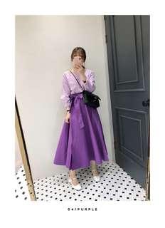 韓國連線代購腰後鬆緊綁帶皺褶襬長裙
