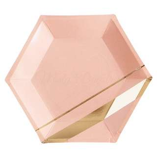 Blush Pink With Gold Stripes Hexagon Large Party Plates