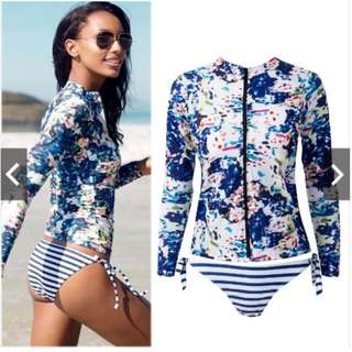 Fashion Women Long Sleeve Bikini Surfing Bandage Swimsuit Beachwear