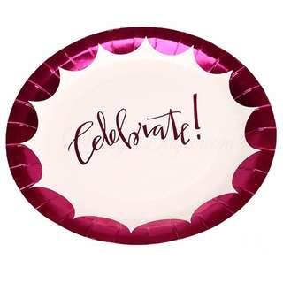 Celebrate Pink Foil Large Party Plates