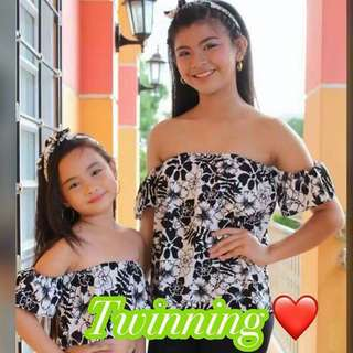 NEWEST STOCKS🌻✨ Ws/Resell : ₱27 0 PRODUCT DETAILS🦄 🌈TWINING Printed Tops 💟Size: 🌻Mom/Sister:Freesize (can fit to small upto large )  🌻Daughter: Freesize (can fit 1-4 y/o) 💟Highquality Fabric - soft crepe       #VC