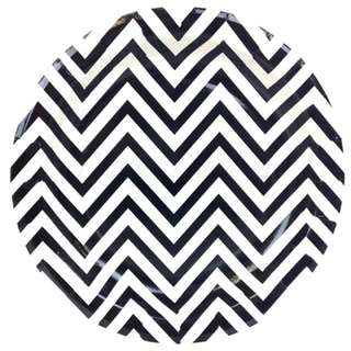 Chevron Black Large Party Plates