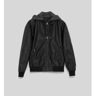 ZARA Men's leather jacket with removable hoodie