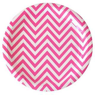 Chevron Hot Pink Large Party Plates