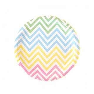 Chevron Rainbow Pastel Small Party Plates