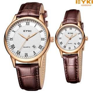 2pcs Hongkong EYKI lovers watch brown genuine leather 1yr warranty ROMAN EET1061L/S-RG0107 R.GOLD/wh