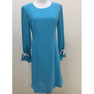 Blue Color, Long Sleeve Dress