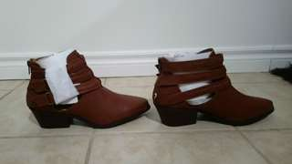 Brown strappy justfab booties