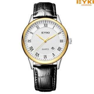 Two pcs HK EYKI lovers watch black genuine leather 1yr warranty ROMAN EET1061L/S-SG0102 SLV-GOLD/whi