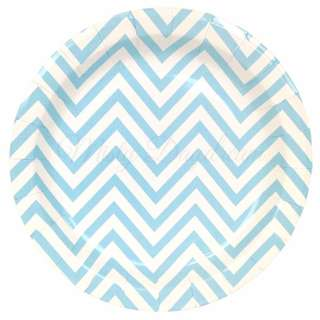 Chevron Light Blue Large Party Plates