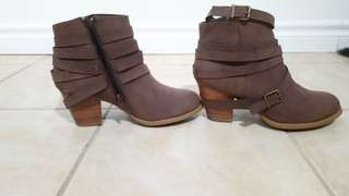 Taupe brown strappy booties justfab
