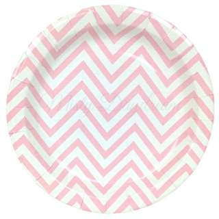 Chevron Light Pink Large Party Plates