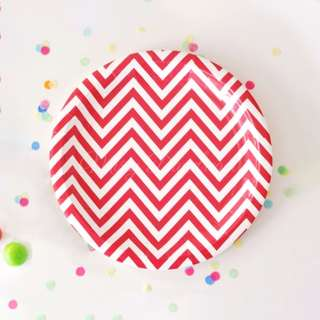 Chevron Red Small Party Plates