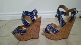 Striped cork wedge with blue straps from justfab