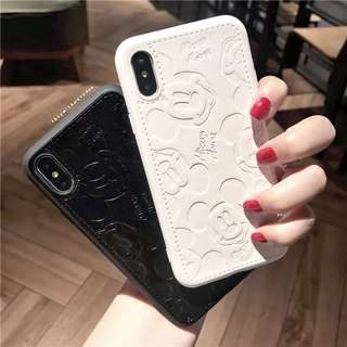 Leather Mickey Iphone X / 8plus / 7 / 6S plus casing