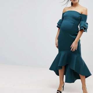 Maternity Wear Rental! ASOS Maternity Premium Bardot Bodycon Pephem Midi Dress