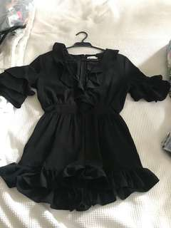 Black Frill Playsuit