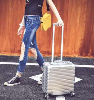 """Small, Stylish & Unique Silver Cabin Size Luggage, Short Travel, 17"""" & 20"""", Preorder, Available in many colours"""