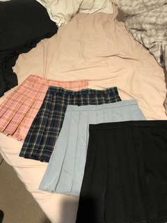 Tennis skirts tartan pink blue grey black