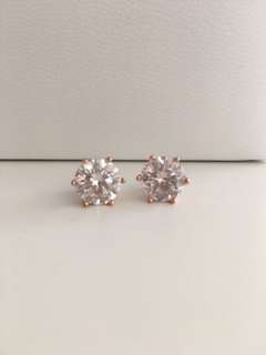 Fossil - Large Rose Gold-Tone Stud Earrings