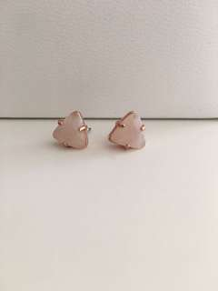 Fossil - Pink Stone Rose Gold-Tone Stud Earrings