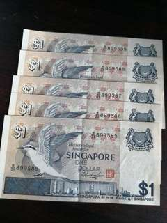 SG $1 note running no.