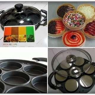 Cetakan Kue 7 Lubang Tutup Kaca + Model 2 Pan Happycall Loyang Martabak Snack Maker