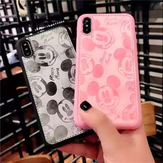 Leather Pink Mickey Iphone X / 7plus / 8 / 6S plus casing