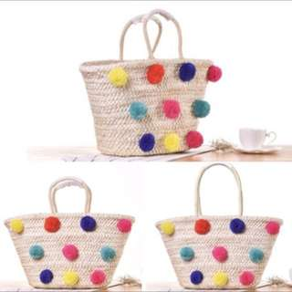 Colorfull pom pom straw rattan handbag