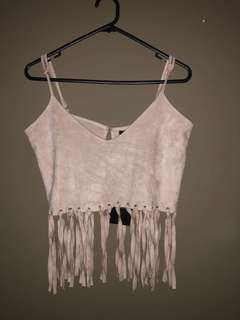 Misguided suede taupe top