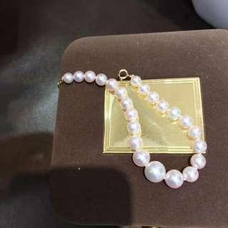 Akoya 海水珍珠5-9mm櫻花粉色🌸18k金尾鏈釦手鏈,正圓強光微微瑕疵,透亮的珠光。 💰💰優惠價發售,歡迎咨詢訂購😊