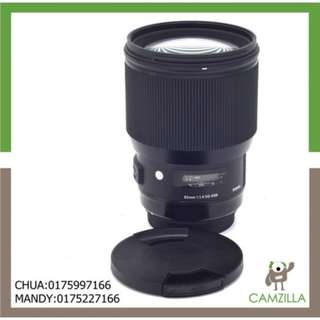 USED SIGMA ART LENS 85 mm 1:1.4 DG FOR CANON