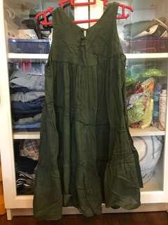 Dark green linen dress