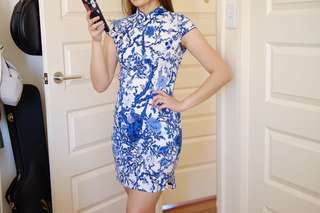 Blue/White Cheongsam Dress