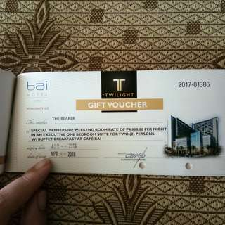 Bai Hotel Vouchers Valid until April 2019