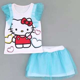 hello kitty set clearance stock, selling below cost, 1-3 yr old size available baby toddler children blue, short sleeve top and skirt