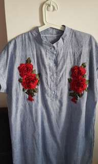 Fashionable top/dress come with 3D flower design