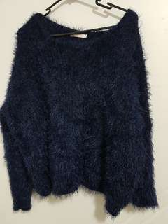 Blue fluffy jumper