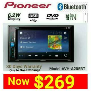 "Pioneer Head Unit AVH 205BT (Brand New in box & sealed) Bluetooth Car Stereo 6.2"" LED Touchscreen DVD/CD/USB/AM/FM Player with Reverse Camera Support. Usual Price: $499.90 New Low price: $269. whatsapp 85992490 to pick up Today."