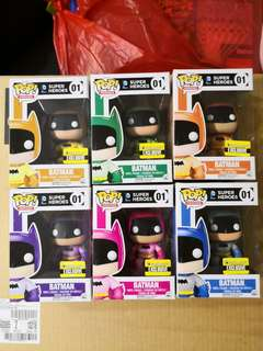 Funko pop Batman Colorful Set of 6 Entertainment Earth Exclusive
