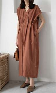Linen Midi Tie Dress