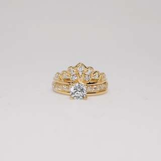 3 way 916 gold ring with cubic zirconia