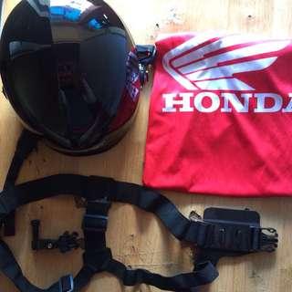 RXR nutshell helmet, Gopro chest mount and Honda sleeve shirt