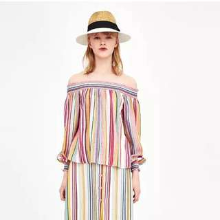 Summer rainbow multicolor striped word shoulder thin wild shirt