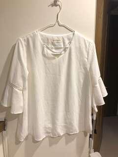 🚚 雪紡白色百搭上衣